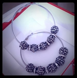 Large sparkly hoops